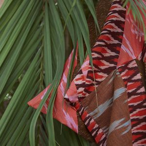 Colourful garment amongst a green palm leaf