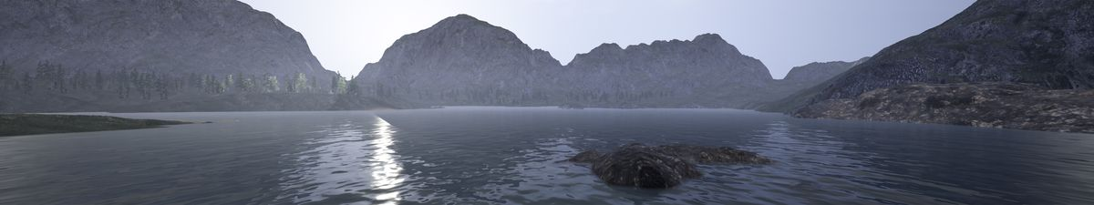 A computer generated image of a lake with mountains
