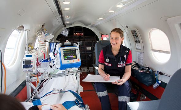 A patient arrives on the Rio Tinto Life Flight Jet