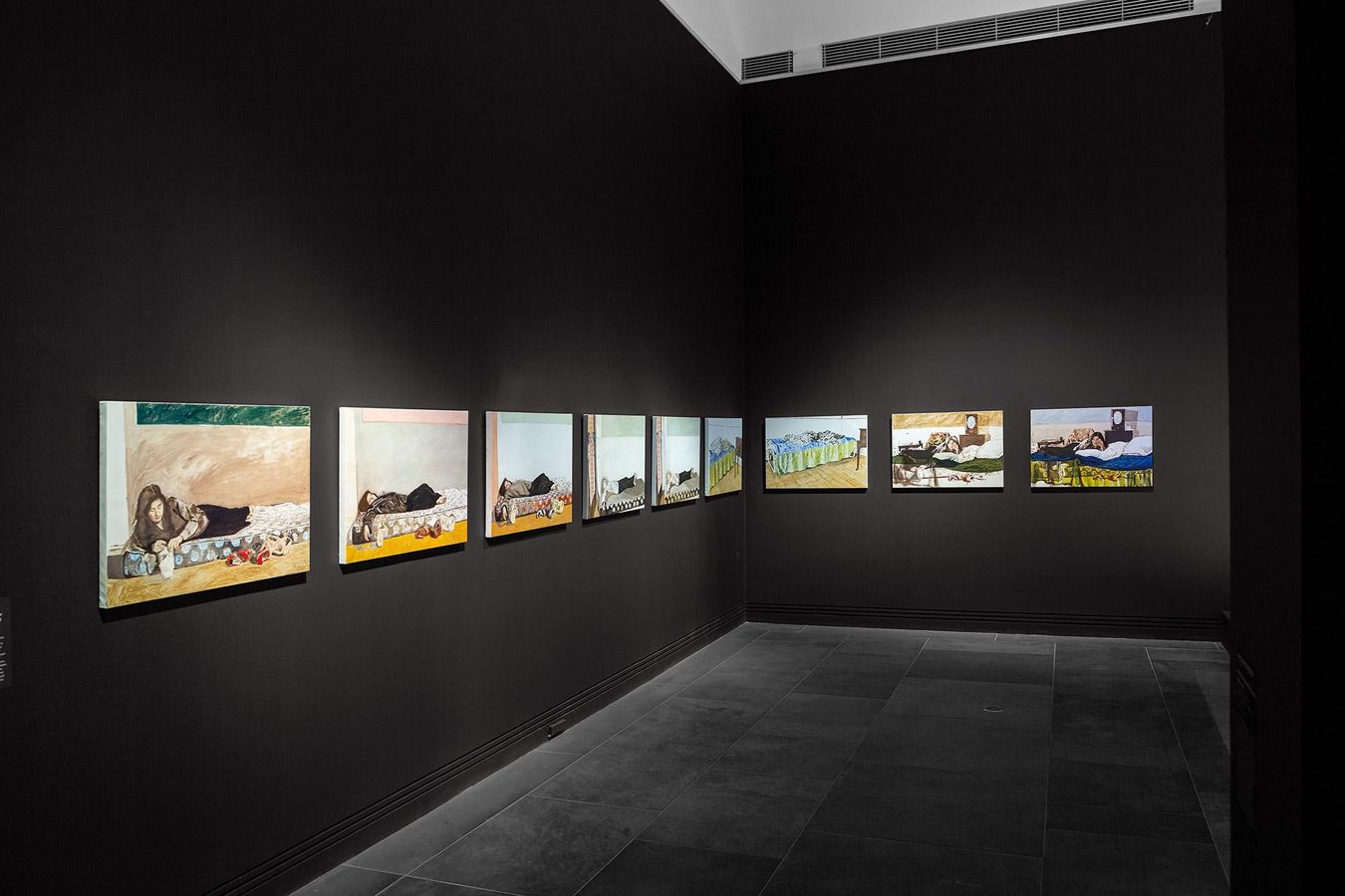 installation view: Ramsay Art Prize 2021 featuring I waited for me to believe in go or for you to send gloves for the cold (Je tu il elle) by Nicola Smith, 2020; Art Gallery of South Australia, Adelaide; photo: Saul Steed.