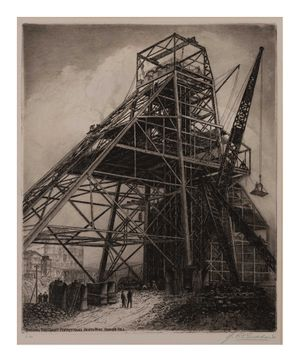 Image of Building the giant poppet head, North Mine, Broken Hill