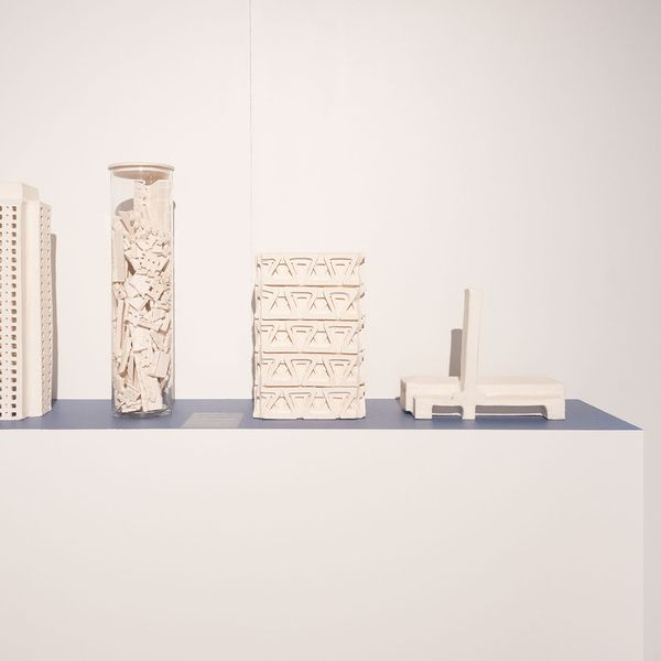4 x architectural ceramic sculptures on a plinth from Natalie Rosin's Endangered + Extinct Exhibition at ADC
