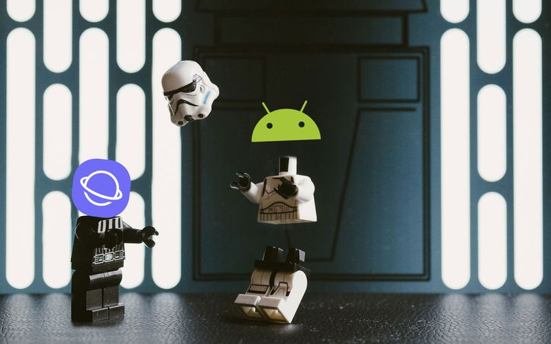 Two lego mini-figures: Darth Vader with the Samsung Internet Browser logo as a head, decapitating a Storm Trooper with the Android logo as a head