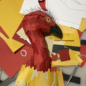 Red textured paper Brush Turkey head with yellow frill