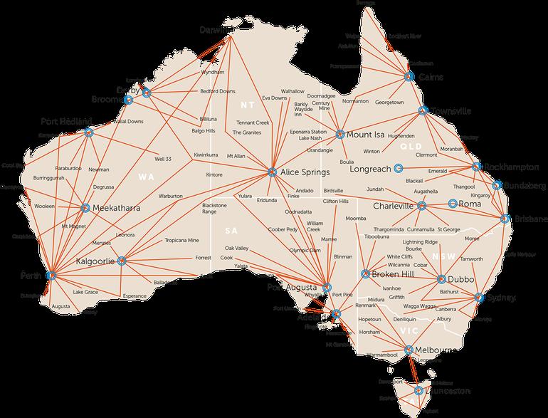 Map showing RFDS Flight Paths across Australia