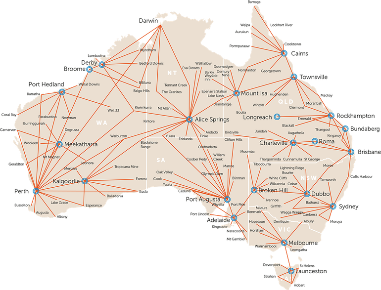 Map showing RFDS Flight Paths across Australia