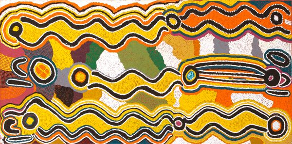 Judy Napangardi Watson, Warlpiri people, Northern Territory, born c.1925, Yarungkanji, Mt. Doreen Station, Yuendumu, Northern Territory, died 2016, Karnta Jukurrpa (Women's Dreaming), 1996, Yuendumu, Northern Territory, synthetic polymer paint on canvas, 91.0 x 46.0 cm; Flinders University Art Museum Collection 3142, © Judy Napangardi Watson/ Warlukurlangu Artists Aboriginal Corporation, photo: Flinders University Art Museum.