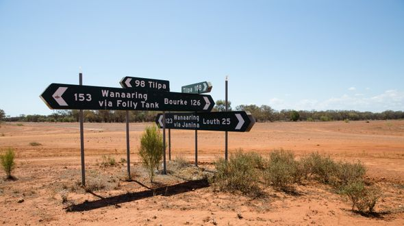 Signposts near Louth, NSW