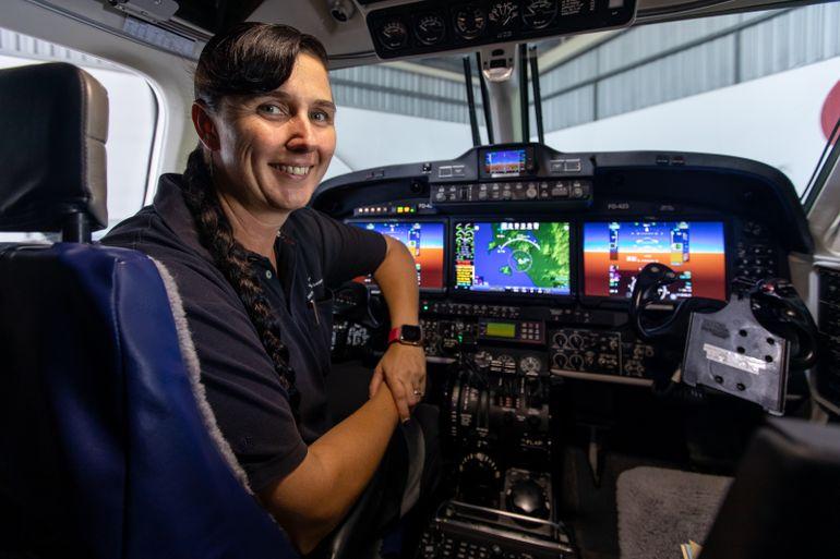 Victoria Harrison in the cockpit