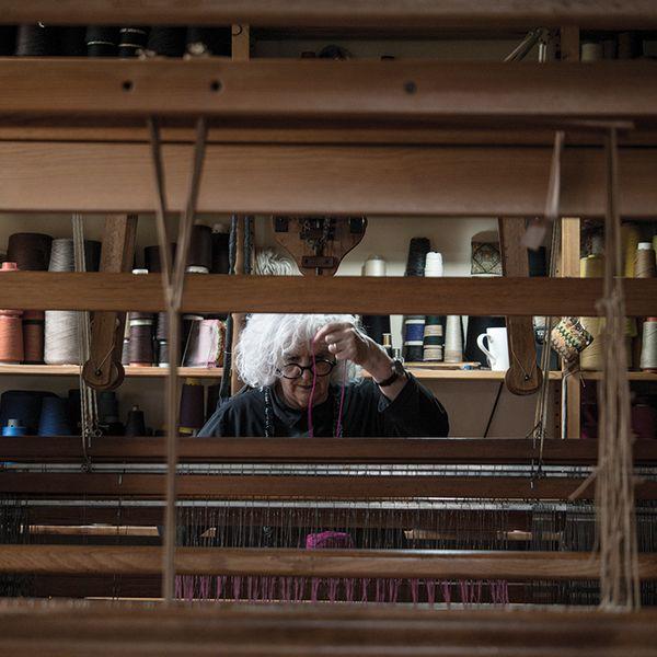 Liz Williamson working loom