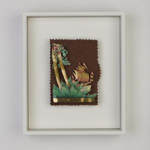Framed mechanical collage of a sailing ship and palm trees