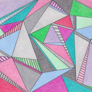 blue, pink, green and grey overlapping triangles drawn in pencil