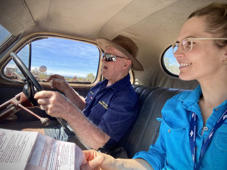 Tommy and Katrina in his 1946 sapphire blue Ford Deluxe Utility