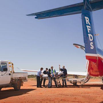 RFDS King Air B200 landing at dusk NSW