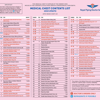 Preview for Medical Chest Contents List - Standard