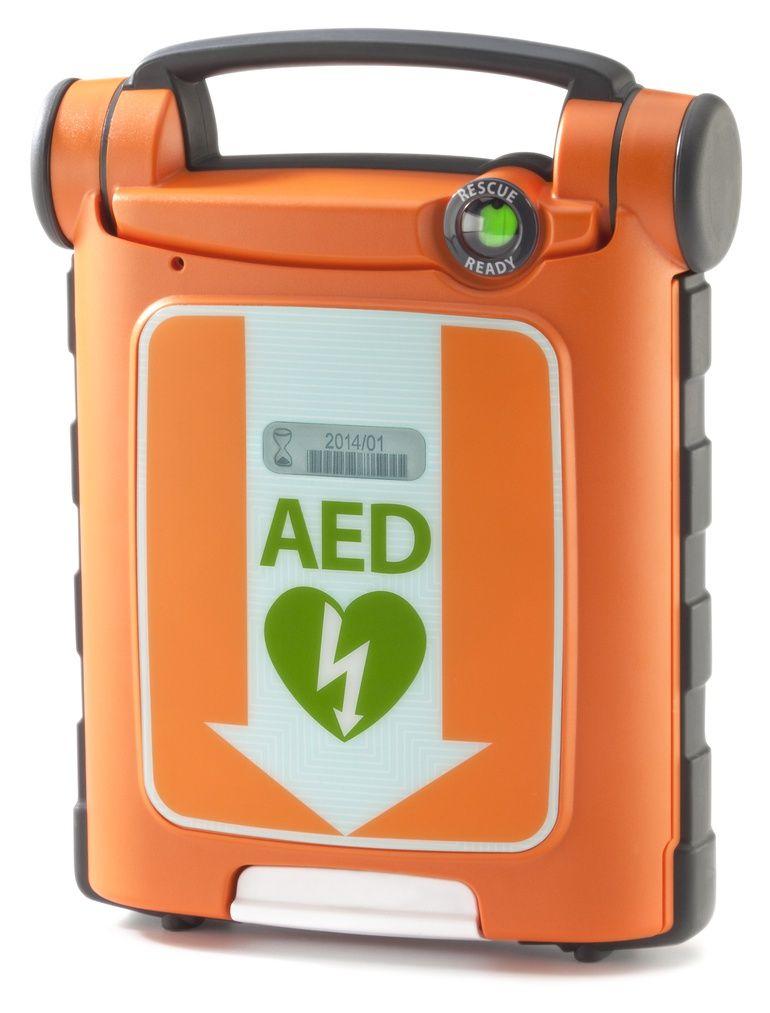 An orange Automatic External Debibrillator device.