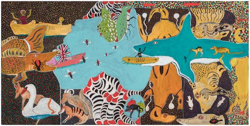 John Prince Siddon, Walmajarri people, Western Australia, born Derby, Western Australia 1964, Mix it all up, 2019, Fitzroy Crossing, Western Australia, synthetic polymer paint on canvas, 120.0 x 240.0 cm, Acquisition through Tarnanthi: Festival of Contemporary Aboriginal & Torres Strait Islander Art supported by BHP 2020 Art Gallery of South Australia, Adelaide © John Prince Siddon/Mangkaja Arts Resource Agency