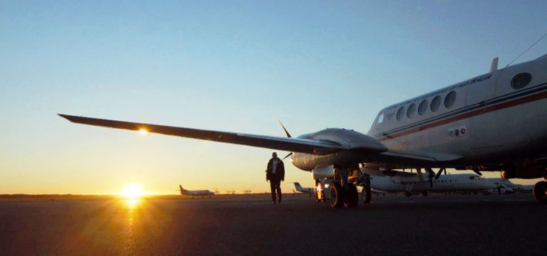 RFDS aircraft at dawn preparing for flight