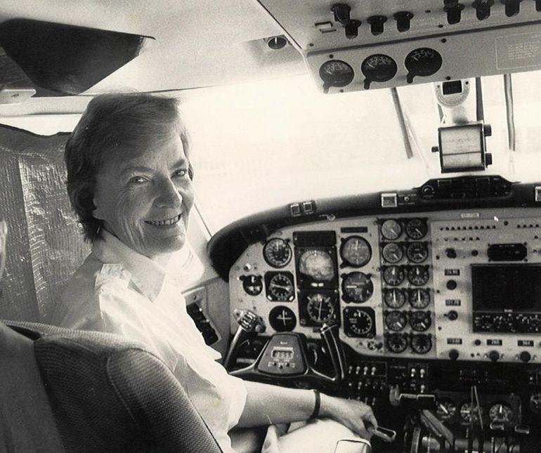 Beth Garrett in the pilot seat