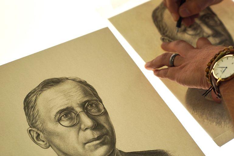 The newly drawn portrait of Reverend John Flynn