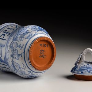 ceramic jar painted in the style of C16th Italian versions