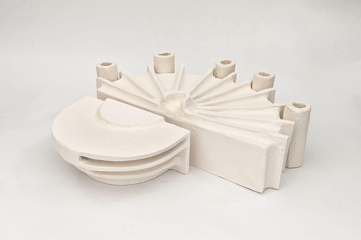 White ceramic architectural model of the Sydney Entertainment Centre