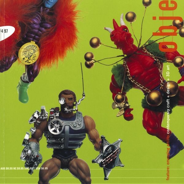 Magazine cover with toy figurines on a lime green background