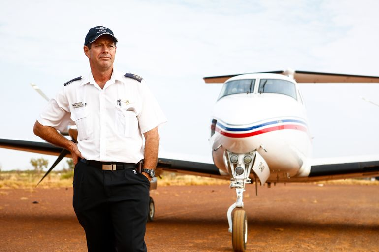Greg King in front of the RFDS aircraft