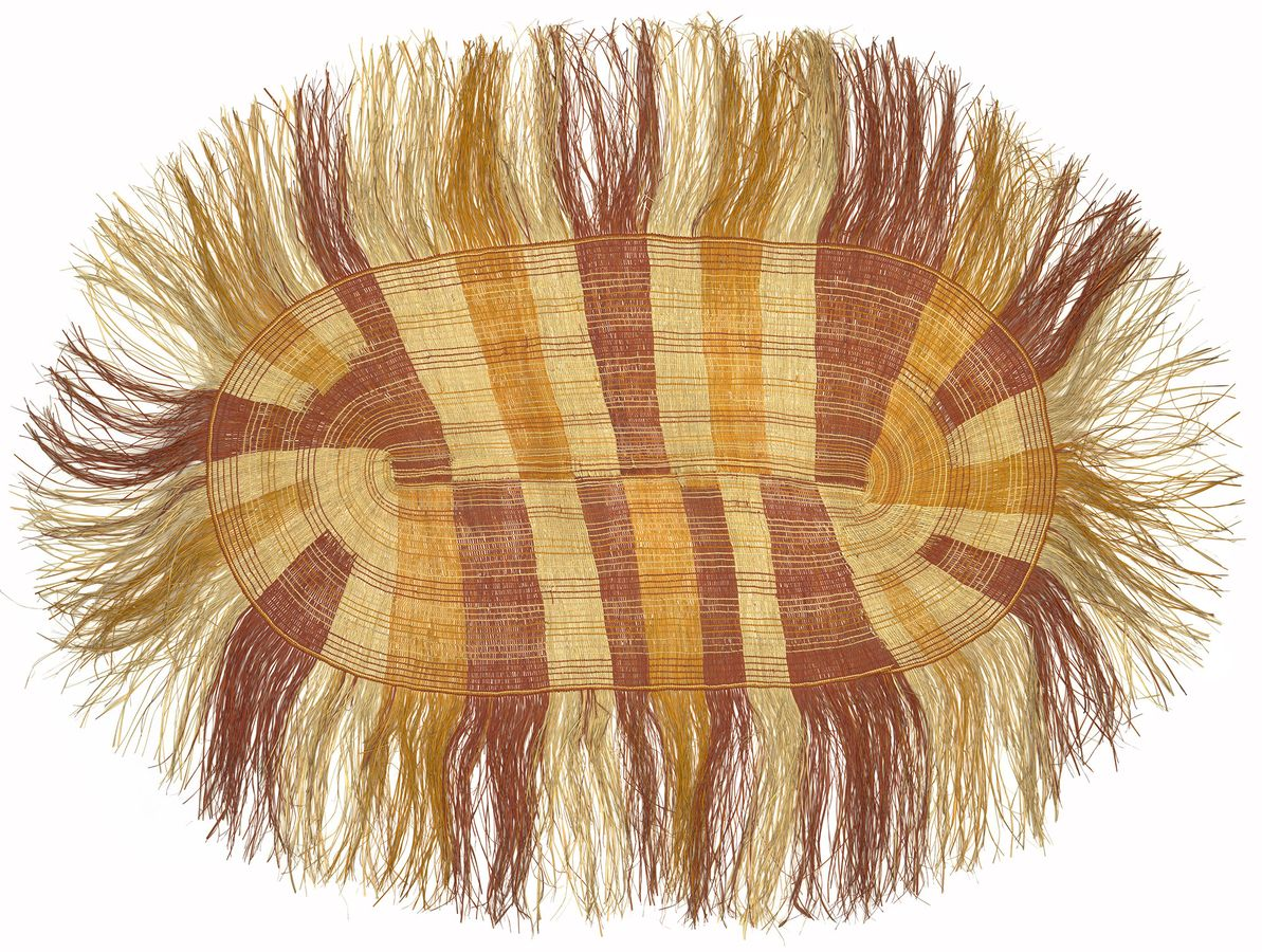 flat weaving of natural and brightly dyed pandanus grass