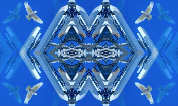 Kent Morris, Barkindji people, New South Wales,born Townsville, Queensland 1964, detail: Barkindji Blue Sky – Ancestral Connections #12, 2021, Melbourne, digital print Courtesy Kent Morris/Vivien Anderson Gallery