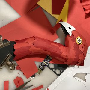 Red paper prototype of Brush Turkeys head