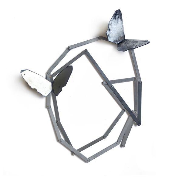 Inari Kiuru, Street wings, 2020, mild steel, galvanised steel, 9ct gold, enamel, magnets, 500 mm long.
